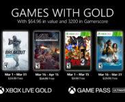 Microsoft oznámil nabídku Xbox Games With Gold na březen 2021